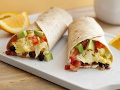 Ellie Krieger's healthy Breakfast Burrito is an excellent source of protein, fiber, vitamin A and vitamin C.