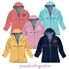 Super cute monogrammed raincoats.  A must-have for fall!