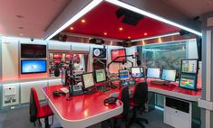 Desking at Heart Radio Station Studio in Hot Red Corian® by Knotty Ash…