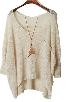 Women's Casual Long Sleeve Knitted Sweater Loose Casual Pullover Blouse Cardigan (Beige)