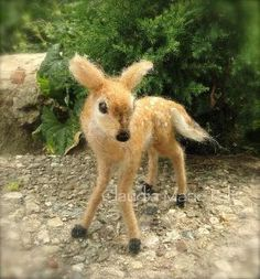 Needle Felted Deer Fawn White Tailed Wool von ClaudiaMarieFelt, $130.00 by jodi