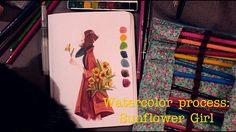Watercolor Process - Sunflower Girl | Fefê Torquato