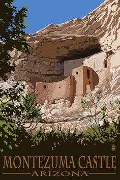 Montezuma Castle, Arizona - Lantern Press Artwork (Art Print Available) Arizona Road Trip, Arizona Travel, Sedona Arizona, Arizona Usa, Oh The Places You'll Go, Places To Travel, Travel Destinations, Places To Visit, Montezuma Castle Arizona