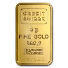 Credit Suisse 5 Gram Gold Bar .9999 Fine CREDIT_SUISSE_GOLD_BAR_5_GRAM - $342.25