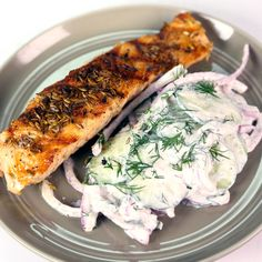 Grilled Salmon with Shaved Cucumbers and Dill by Michael Symon