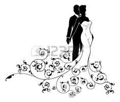 Картинки по запросу жених и невеста рисунок черно белый