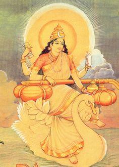 Maa Saraswati or Devi Sarasvati is the goddess of knowledge, music and the arts. She is the consort of Lord Brahma. Goddess Saraswati is co. Saraswati Goddess, Goddess Art, Durga, Saraswati Mata, Gandhi, Saraswathi Devi, Indian Folk Art, Divine Mother, Hindu Deities