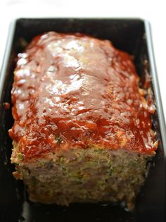 Zucchini Meatloaf - lighter meatloaf with hidden veggies. Great for picky kids and health conscious grown ups!
