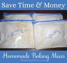 Save Time & Money with Homemade Baking Mixes {Cornbread Recipe} || TheSimplePen.com Homemade Dry Mixes, Homemade Seasonings, Homemade Sauce, Freezer Cooking, Freezer Meals, Cooking Recipes, Homemade Cornbread, Cornbread Mix, Do It Yourself Food