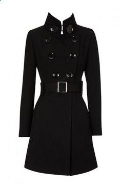 Karen Millen Glamorous Lightweight Coat Black - Click Image to Close