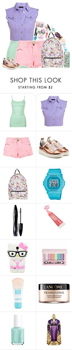 """""""pastel tomboy"""" by emmzizleez888 ❤ liked on Polyvore featuring Full Tilt, Current/Elliott, Golden Goose, Casio, Lancôme, FCTRY, Pop Beauty, Maybelline, Essie and Thierry Mugler"""