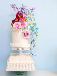 Colorful wedding cake @weddingchicks