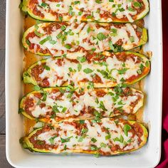Lasagna Zucchini Boats by @cookingclassy http://www.cookingclassy.com/2015/06/lasagna-zucchini-boats/