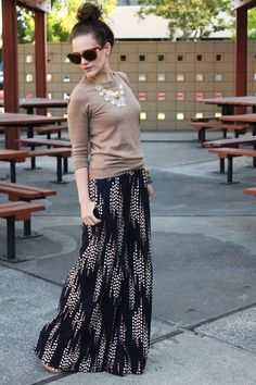 Balance wide leg palazzo pants with a form fitting sweater for a balanced look!
