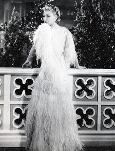 Glamorous Ginger Rogers in her famous feather dress!