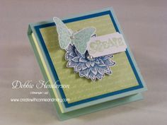 """Stampin' Up! Creative Elements Post It Note Holder for Create with Connie & Mary Card """"Create""""tions Subscription. Measurements included to make one of these. Debbie Henderson, Debbie's Designs."""