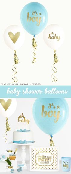 b8dac804e4e5a5 Boy Baby Shower Gift Boy - New Baby Boy Gift - Its a Boy Gift - Blue and  Gold Baby Shower for Boy Decor (EB3110BBY) -SET of 3 Balloons