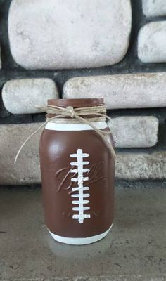 Football Mason Jar - Great for a Sports theme Baby Shower, Birthday Party, Man Cave, or Nursery/room decor! This listing is for ONE Mason jar of your choice! I have another listing for the set of 3 If you would like another sport theme.