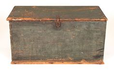 Primitive Blanket Chest, Dry Blue/green Paint, Handmade, Early 19th C., 6 Boards