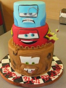 "This amazing ""Cars 2"" birthday cake was created by my boyfriend's mom for my 4 year old son's birthday party.  You can read about it here - http://www.themommy-files.com/2012/05/sammys-4th-birthday-and-an-awesome-cars-2-cake/"