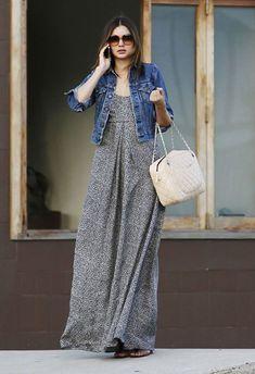 #MirandaKerr Denim Jacket and Maxi dress   - DesignerzCentral