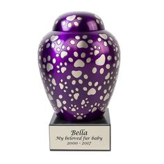 Paws of Love Bronze Pet Memorial Urns - Medium - Holds Up To 80 Cubic Inches of Ashes - Purple Dog Cremation Urn - Engraving Sold Separately Hand Carved, Hand Painted, Pet Urns, Purple Satin, Love Pet, Pet Memorials, Carving, Bronze, Pets