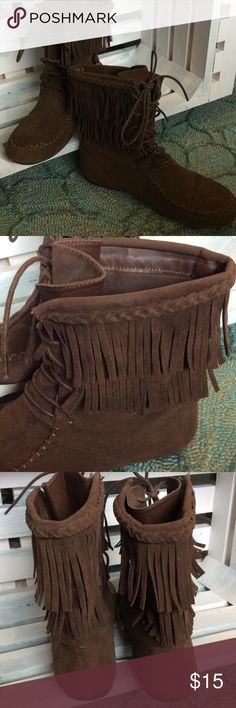 Fringe booties Excellent detail! Soft suede-feeling. fits true to size. In excellent pre-loved condition. forever Shoes Ankle Boots & Booties