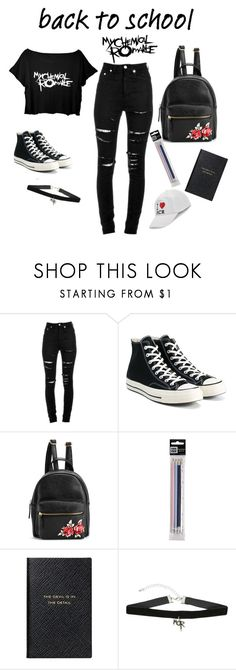 """""""BACK TO SCHOOL (For emos)"""" by belladoodlebug ❤ liked on Polyvore featuring Yves Saint Laurent, Converse, Smythson, Hot Topic and Boohoo"""