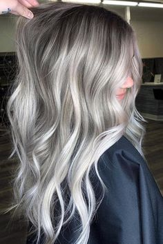 Ice Blonde Hair, Blonde Hair Looks, Blonde To Silver Hair, Dyed Gray Hair, Gray Hair Ombre, Dying Hair Grey, Platnium Blonde Hair, Blonde Fall Hair Color, Blone Hair