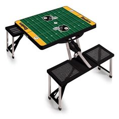 Picnic Time Team Football Field Design Portable Picnic Table (200 CAD) ❤ liked on Polyvore featuring home, outdoors, patio furniture, outdoor tables, patio picnic table, folding picnic table, folding patio furniture, folding patio table and outdoor folding table