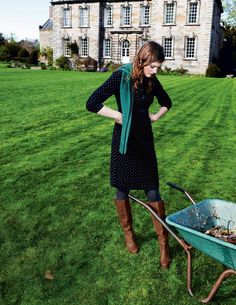 Placket Cord Dress.  What's not to love?  Corduroy-check Scarf-check Knee high boots-check!