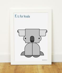 """K is for koala"" poster for kidsroom"