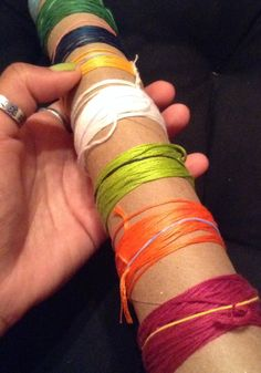 Easy way to save embroidery string (friendship bracelet string) from tangling. Wrap around a paper towel roll and secure end with a small rainbow loom rubber band. #diy #string #organize