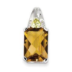 Sterling Silver Whiskey Quartz and Diamond Pendant QP2926WQ