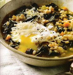 ~linen & lavender: Recipe: Farro and Kale Soup from Olives & Oranges:  Flavor Secrets from Italy, Spain, Cyprus and Beyond