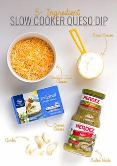 5 Ingredient Slow Cooker Queso Dip - Toss is all in and sit back because this dip is going to make itself! #queso #quesoblanco #slowcooker #crockpot #salsaverde | littlespicejar.com