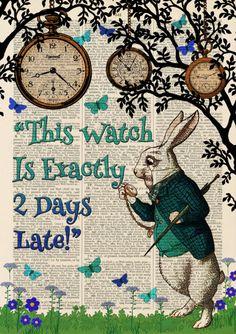 Details about Set of 4 Alice in Wonderland Antique Book page Art Prints…