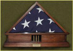5x9 memorial flag case diplays shell casings from veteran funeral