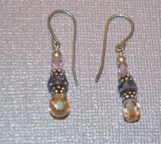 "Vintage Pink, Purple, Yellow Crystal Dangle Hook Earrings 1.25"" Long (n125)"