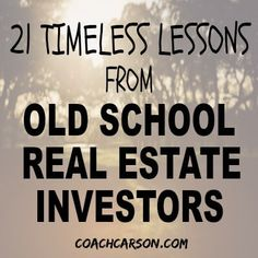 21 Lessons I Learned From Old School Real Estate Investors - - The best way to prepare for the future of real estate investing is to study the past. So, here are 21 timeless lessons I learned from old school investors. Best Real Estate Investments, Real Estate Investor, Real Estate Marketing, Real Estate Leads, Real Estate Tips, Selling Real Estate, Investment Property, Rental Property, Income Property