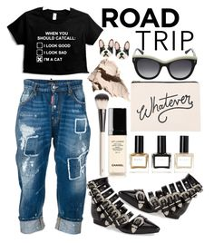 """Road Trippin"" by loves-elephants ❤ liked on Polyvore featuring Chantecaille, Betsey Johnson, Chanel, STELLA McCARTNEY, Balmain, Bobbi Brown Cosmetics, ALPHABET BAGS, Jeffrey Campbell, Dsquared2 and roadtrip"