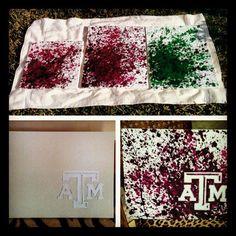 Cool splatter paint technique for some unique Texas A&M art.