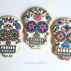 "One of my favorites from last year! Watch the full video at YouTube.com/SweetAmbsCookies #sweetambscookies #sugarskulls MUSIC: ""Book of Secrets"" courtesy of AudioNetwork.com"