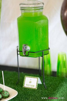 Green potion drink at a Minecraft boy birthday party! See more party ideas at CatchMyParty.com!