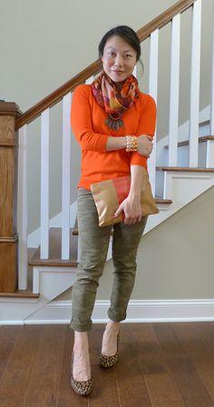 sweater, scarf, camo (#jcrew sweater scarf #landsend jeans #bananarepublic heels #cwonder clutch)