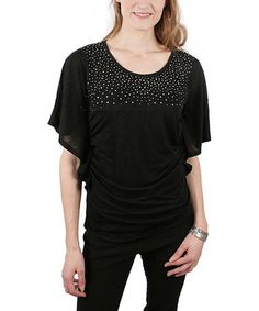 Take a look at this Black Stars Rouched Cape-Sleeve Top by Ethyl on #zulily today! $18 !!