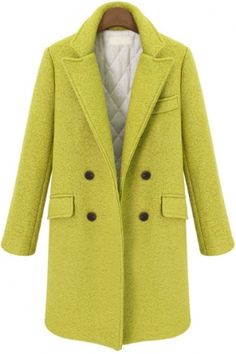 Buy Yellow Lapel Long Sleeve Buttons Woolen Coat from abaday.com, FREE shipping Worldwide - Fashion Clothing, Latest Street Fashion At Abaday.com  $46.67