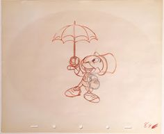 """Original production animation drawing in orange and graphite pencils of Jiminy Cricket from """"Pinocchio,"""" 1940, Walt Disney Studios; Numbered 89 in red pencil lower right; Size - Jiminy Cricket: 6 1/4 x 4 3/4"""", Sheet: 10 x 12""""; Unframed."""