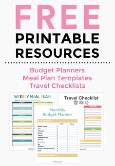 Free Resource Library, budget planner, meal planning template, travel checklists