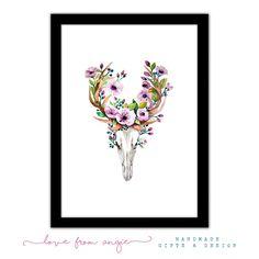 Floral Deer Skull - Framed A4 Print
